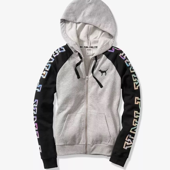 c1d10878b62d8 Silver Black Bling Perfect Hoodie Jacket VS Pink NWT